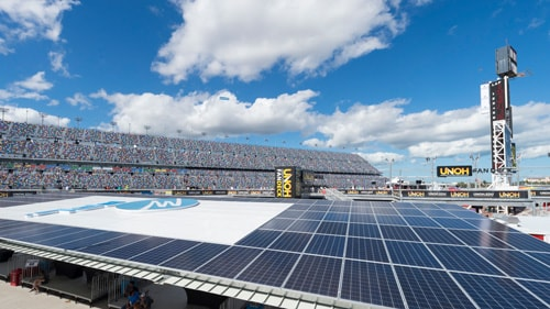 Aerial view of FPL solar circuit at Daytona International Speedway